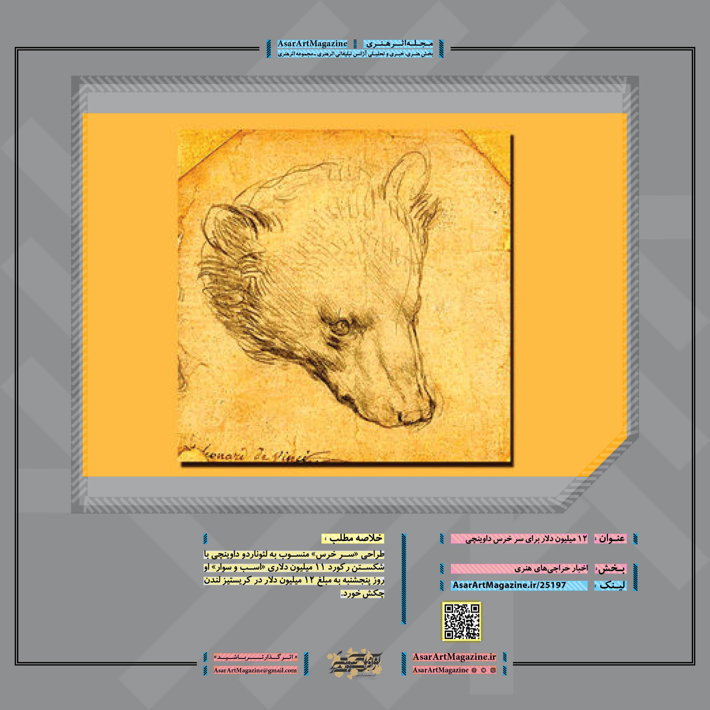 12 میلیون دلار برای سر خرس داوینچی  مجله اثرهنری ـ اثر هنری